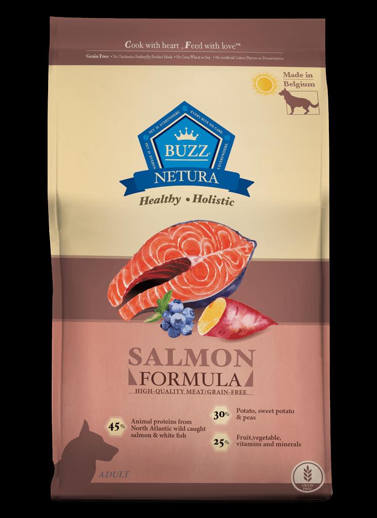 Buzz Netura – สูตรเนื้อปลาแซลมอน สำหรับสุนัขโตพันธุ์กลาง-ใหญ่